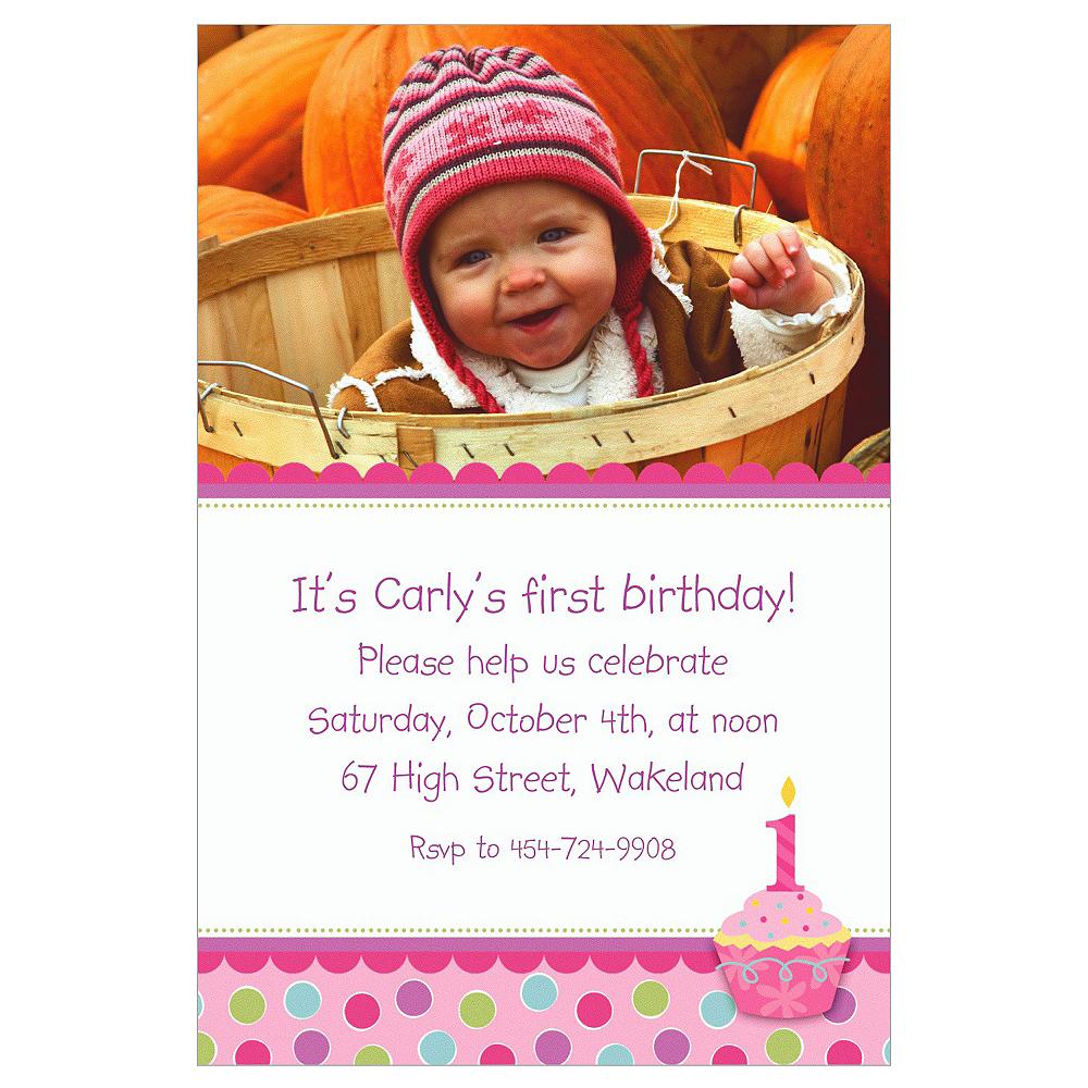 Custom Sweet Little Cupcake Girl Photo Invitations Image #1