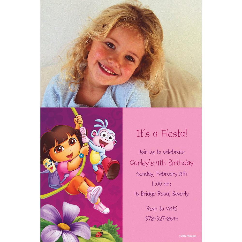 Custom Dora Flower Fun Photo Invitations Image #1