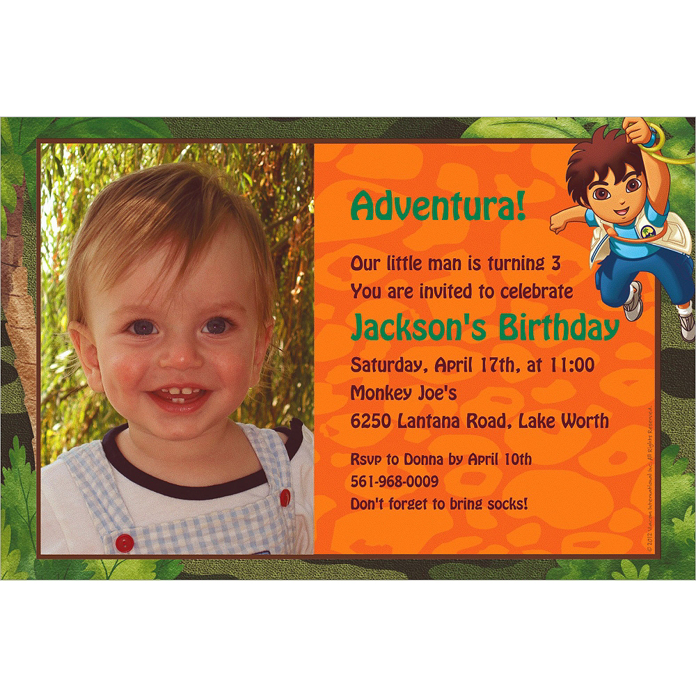 Custom Diego's Biggest Rescue Photo Invitations Image #1