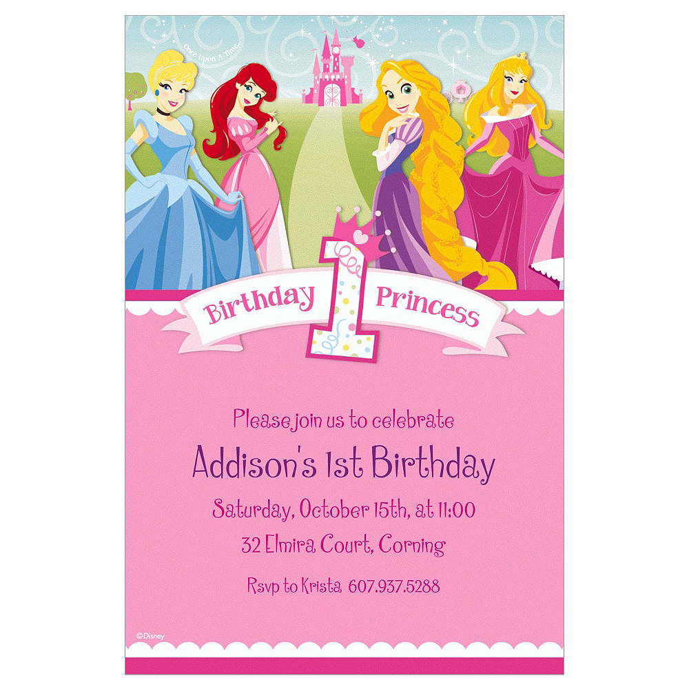 Custom Disney Princess 1st Birthday Invitations Image 1