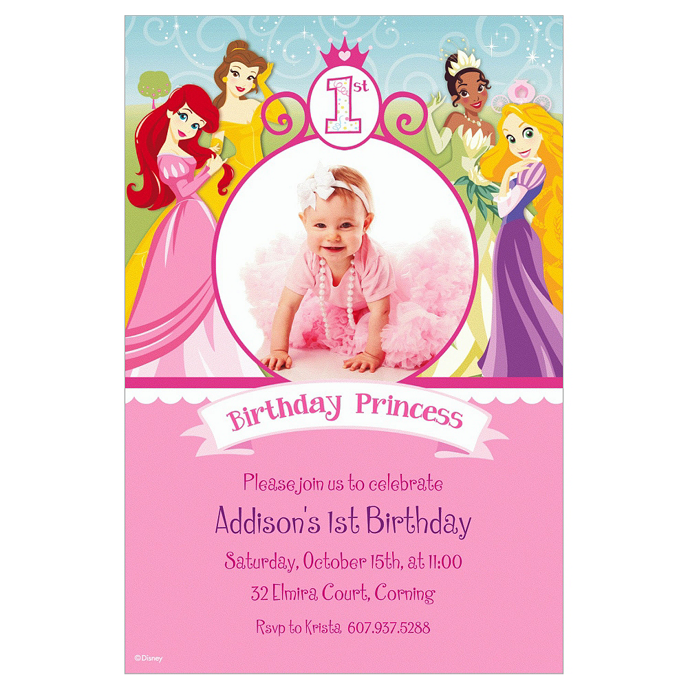 Custom Disney Princess 1st Birthday Photo Invitations Image 1