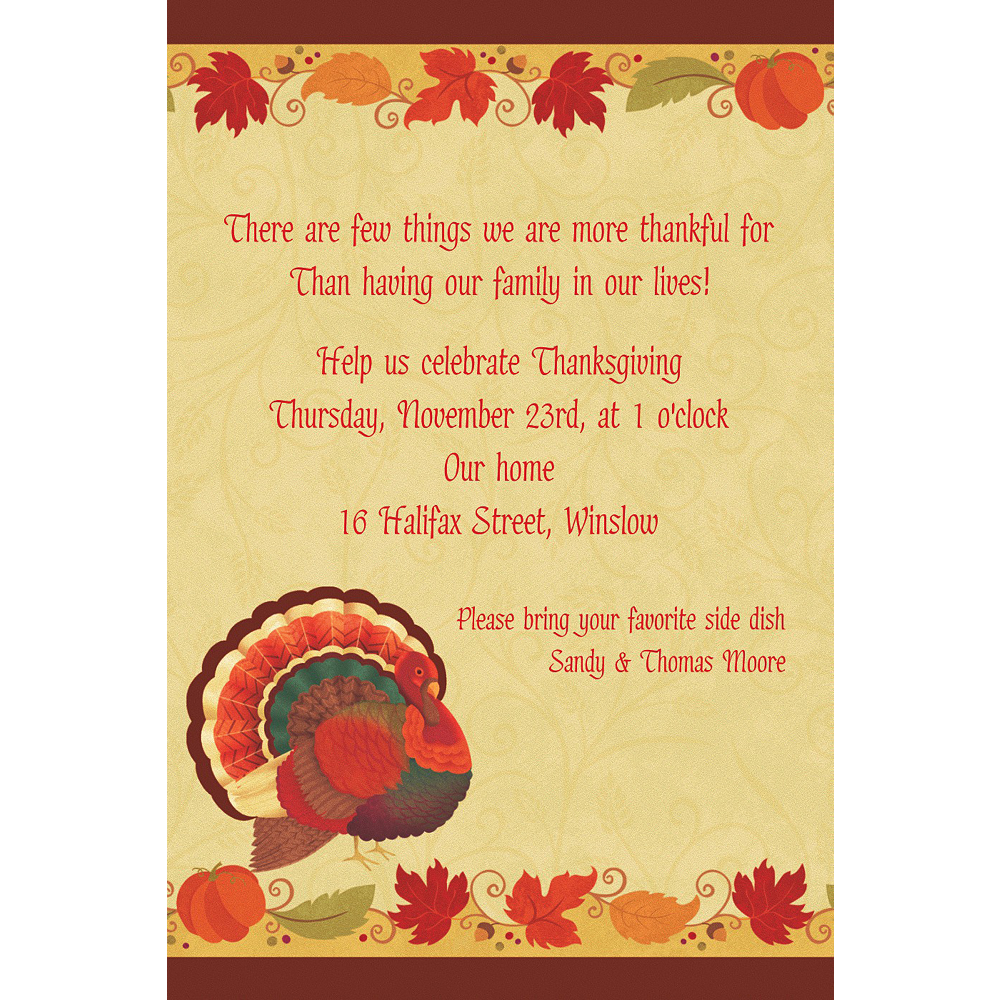 Custom Thanksgiving Holiday Invitations  Image #1