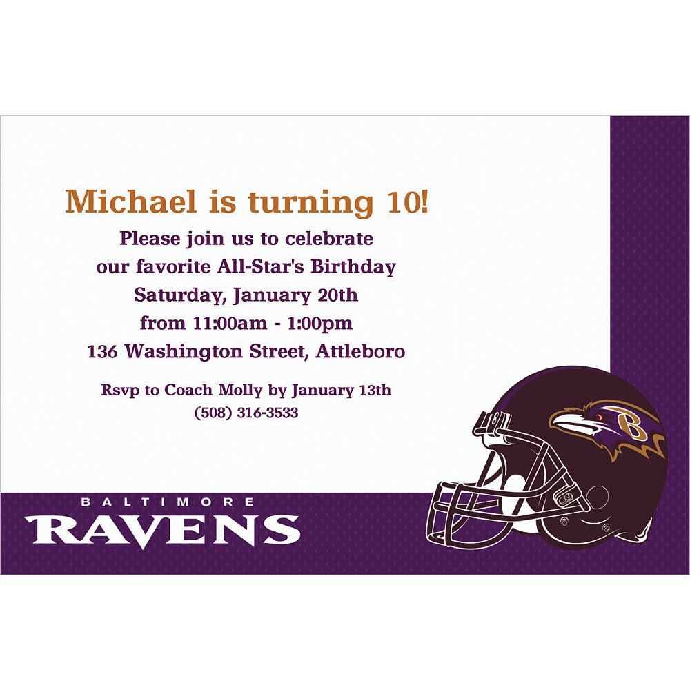 Custom Baltimore Ravens Invitations Image #1