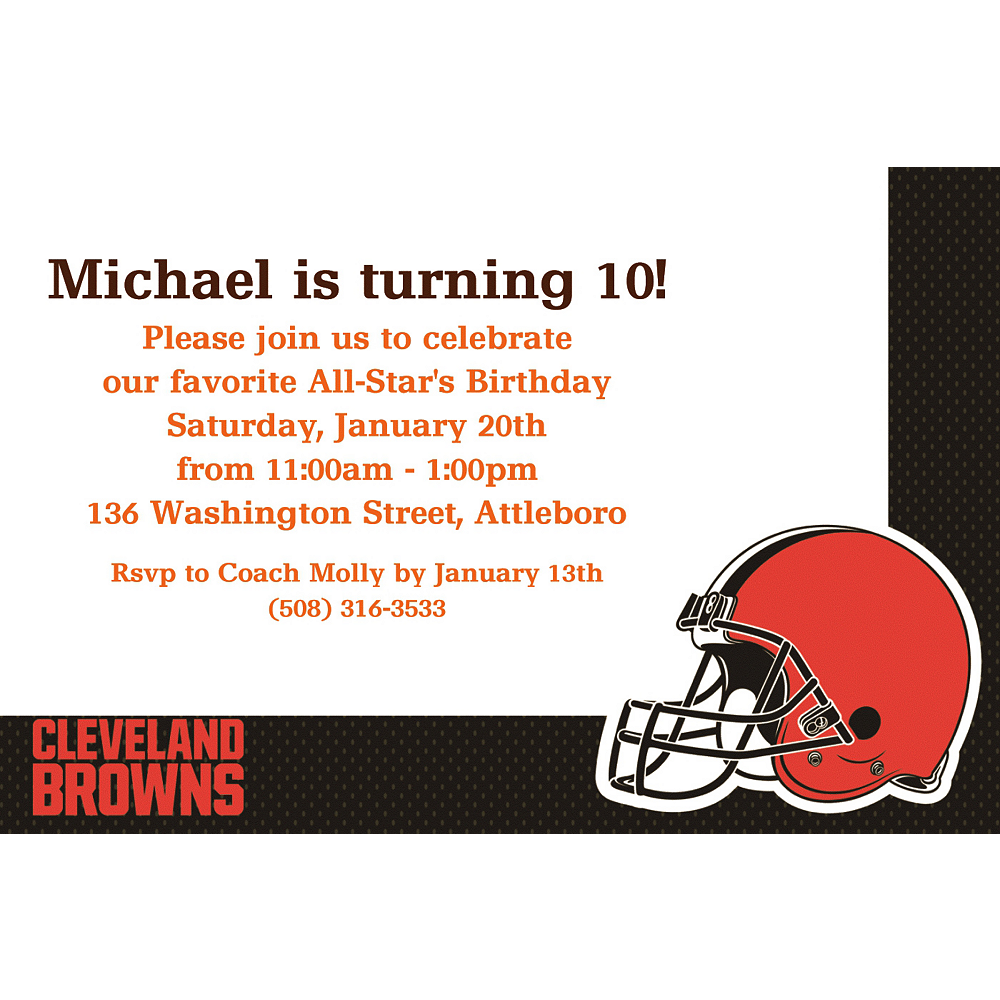 Nav Item for Custom Cleveland Browns Invitations  Image #1
