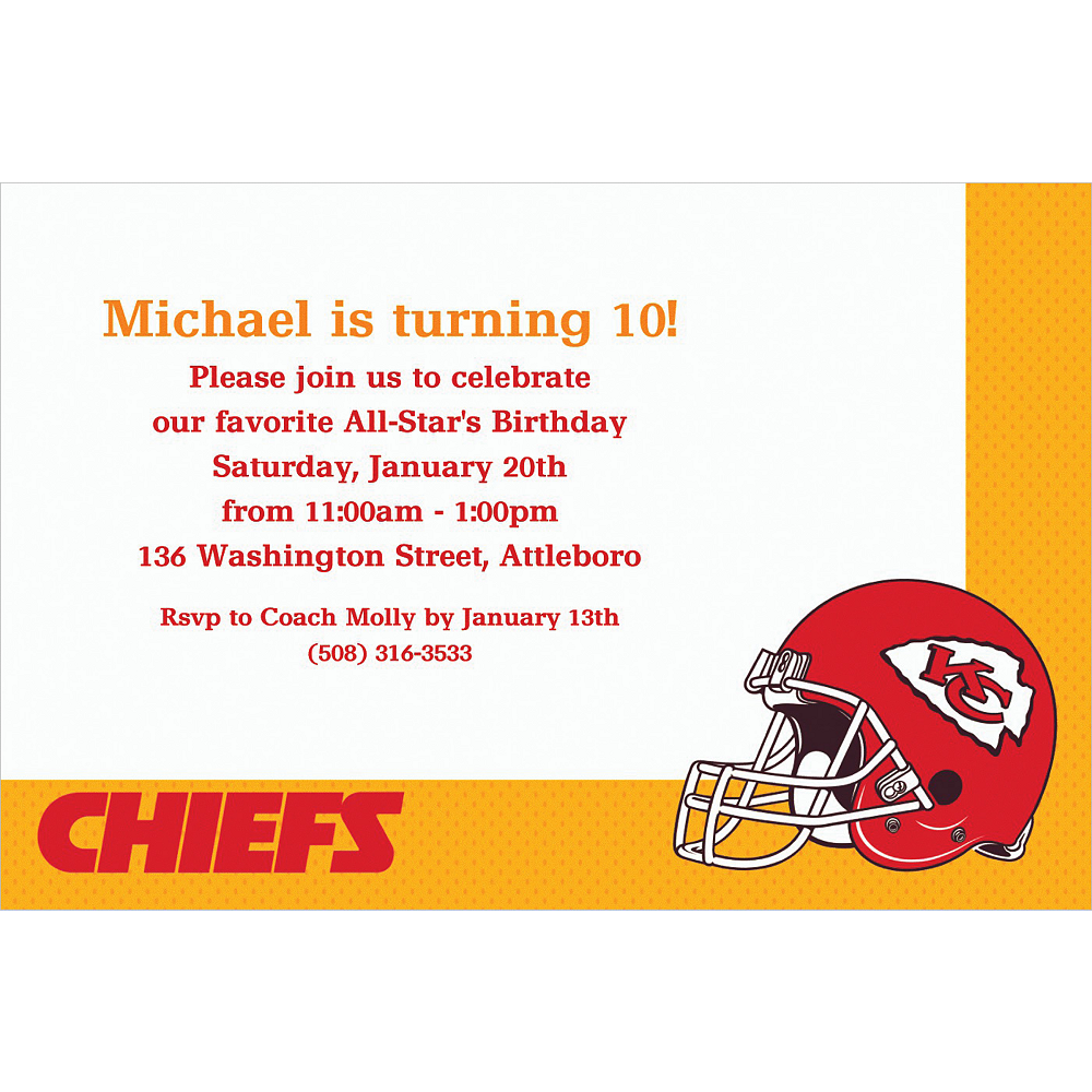 Custom Kansas City Chiefs Invitations Image #1