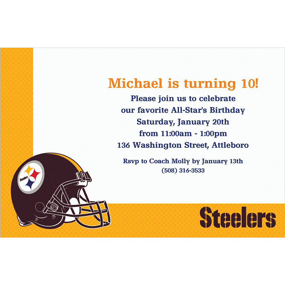 Custom pittsburgh steelers invitations party city custom pittsburgh steelers invitations filmwisefo