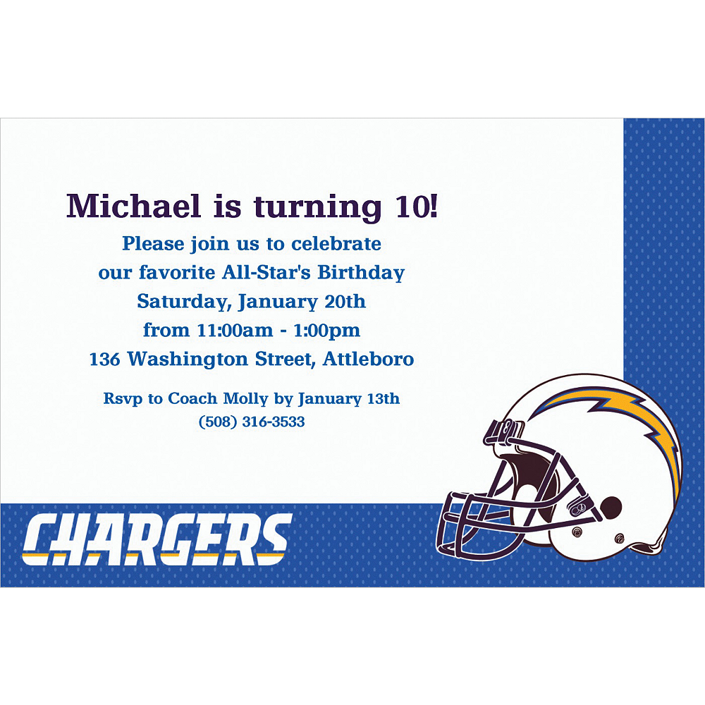 Nav Item for Custom Los Angeles Chargers Invitations Image #1