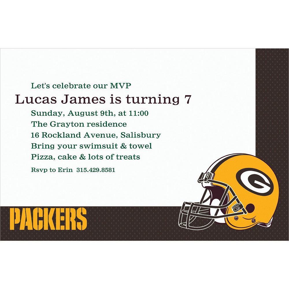 Custom Green Bay Packers Invitations Image #1