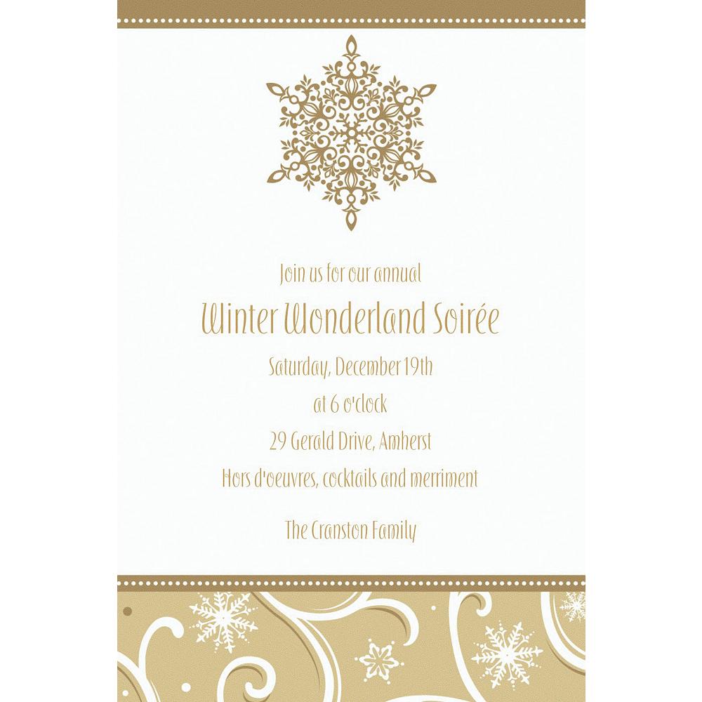 Custom Shimmering Snowflake Invitations Image #1