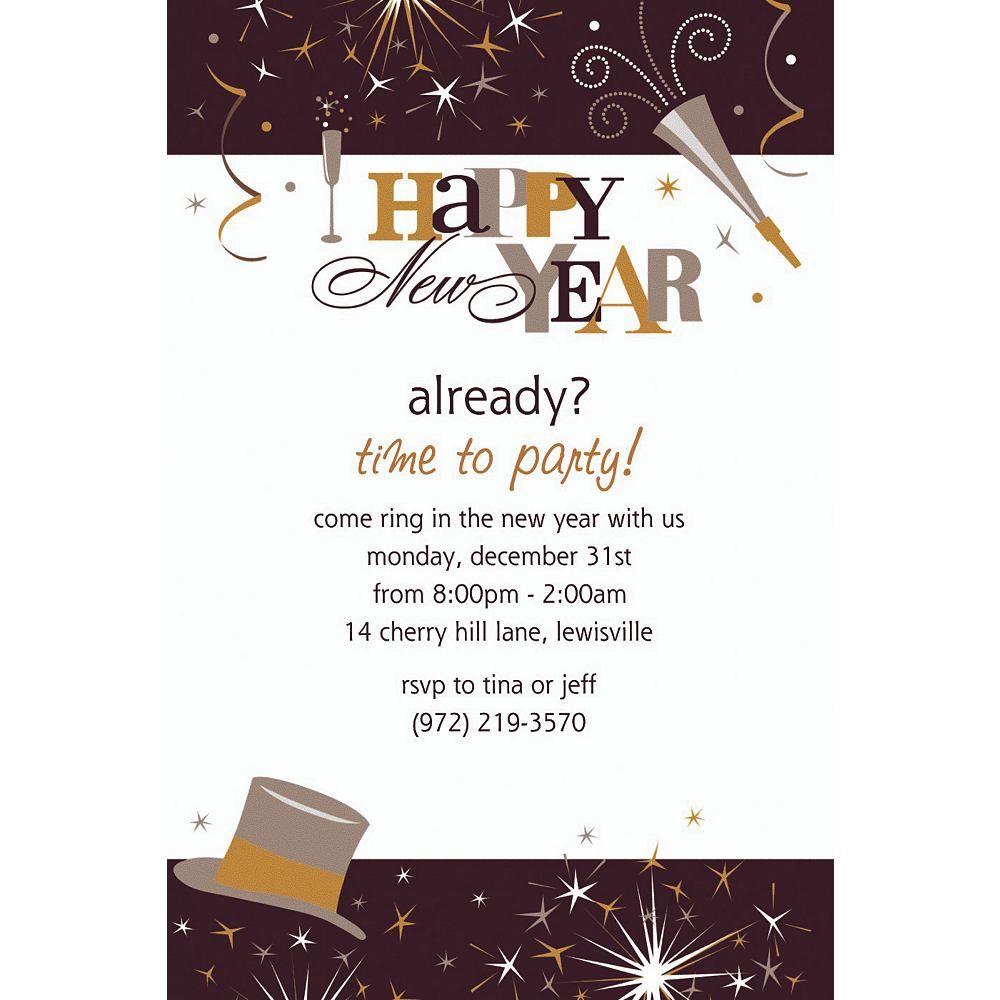 Custom Elegant Celebration New Year\'s Invitations | Party City