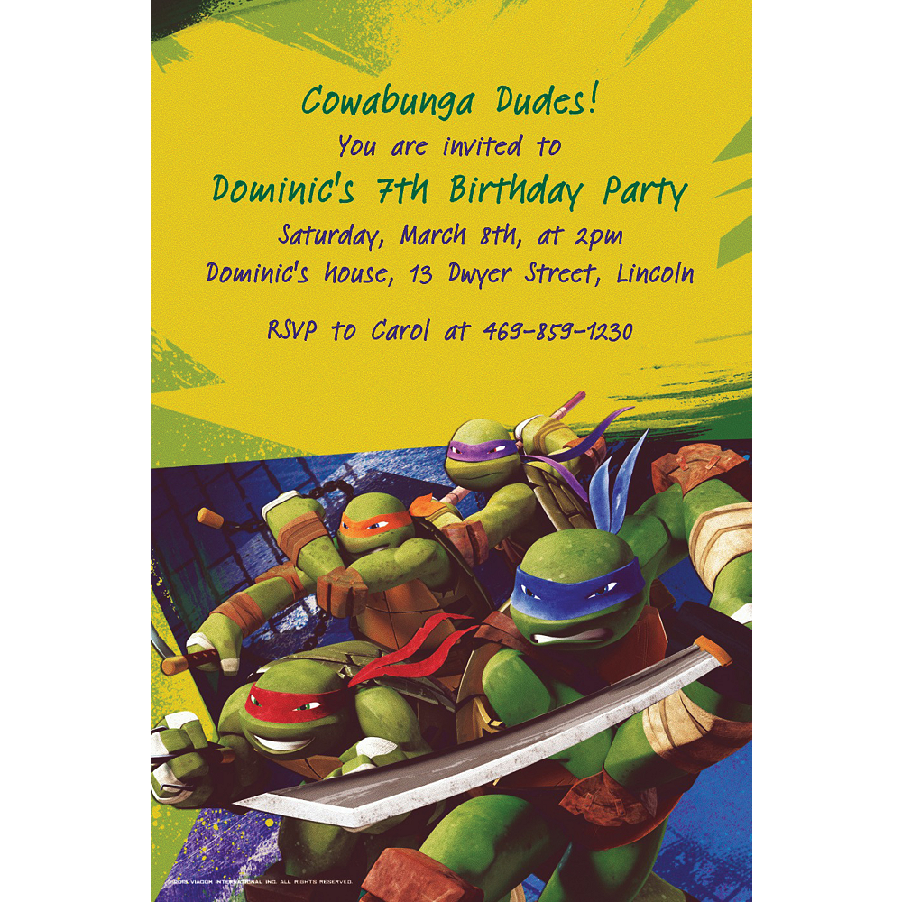 Custom Teenage Mutant Ninja Turtles Invitations Image 1