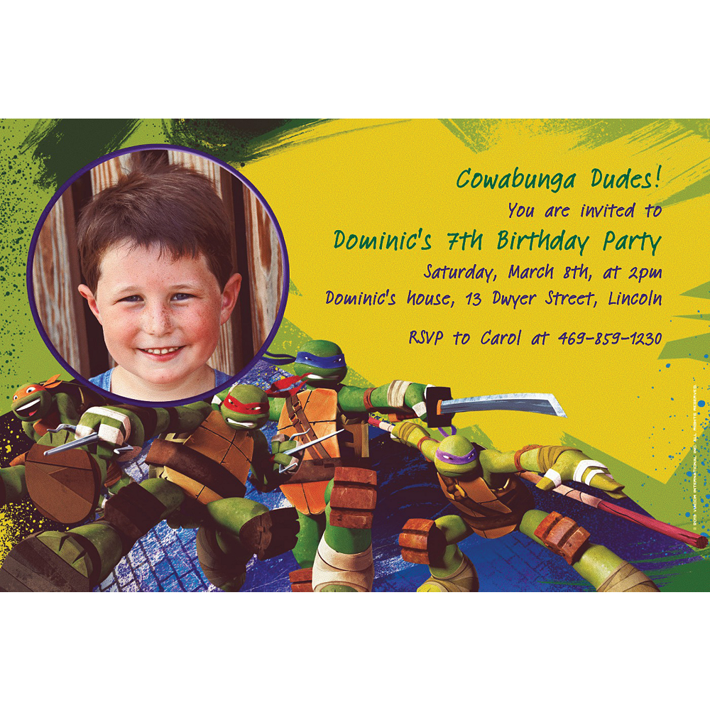 Custom Teenage Mutant Ninja Turtles Photo Invitations Image 1