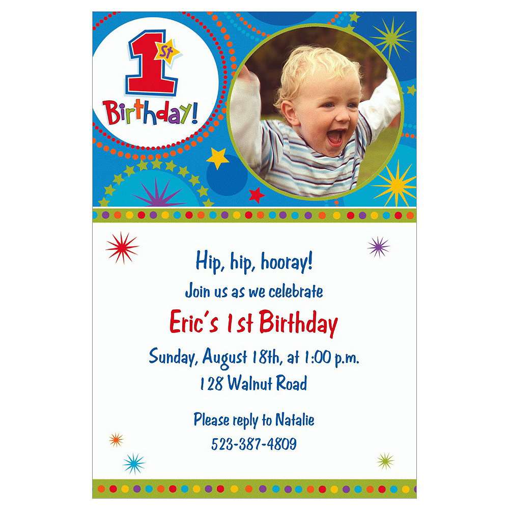 Custom One-derful Birthday Boy Photo Invitations Image #1