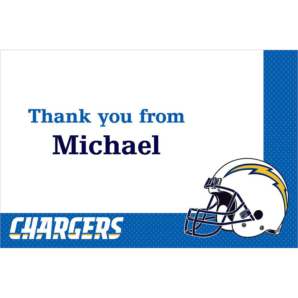 Custom Los Angeles Chargers Thank You Notes Image #1