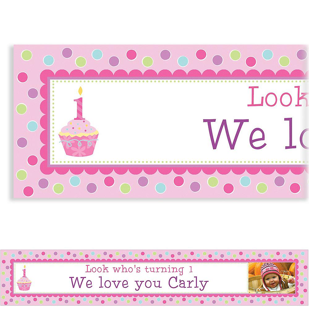 Custom Sweet Little Cupcake Girl Photo Banner 6ft Image #1