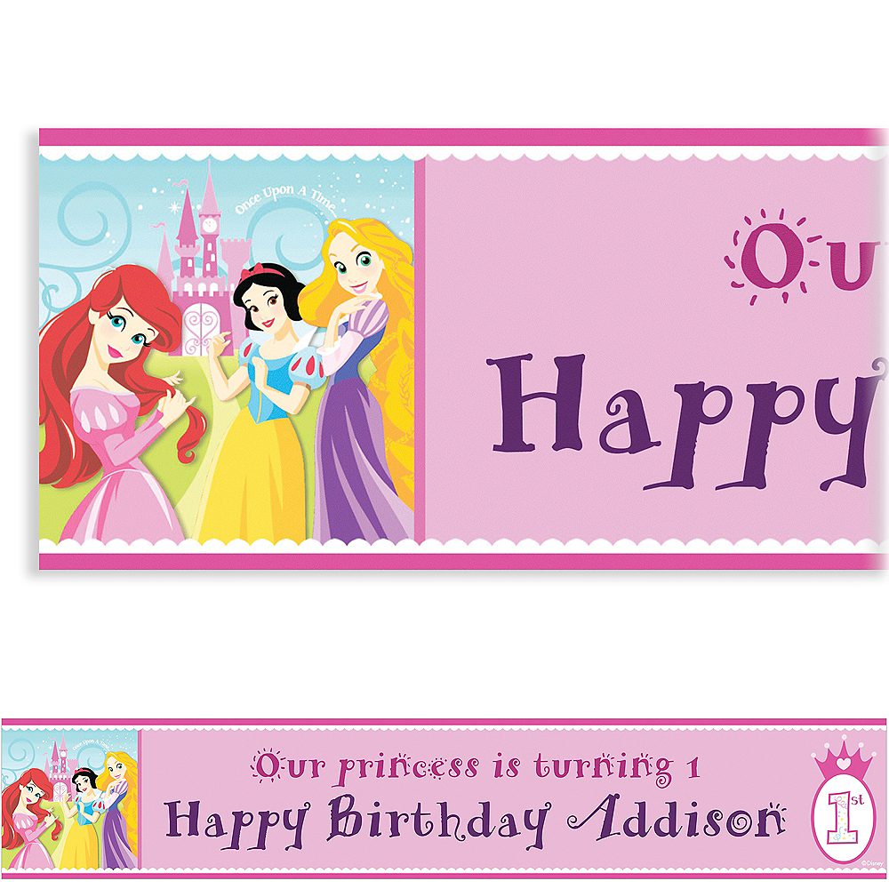 Custom Disney Princess 1st Birthday Banner 6ft Image #1