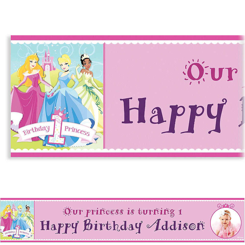 Nav Item for Custom Disney Princess 1st Birthday Photo Banner 6ft Image #1