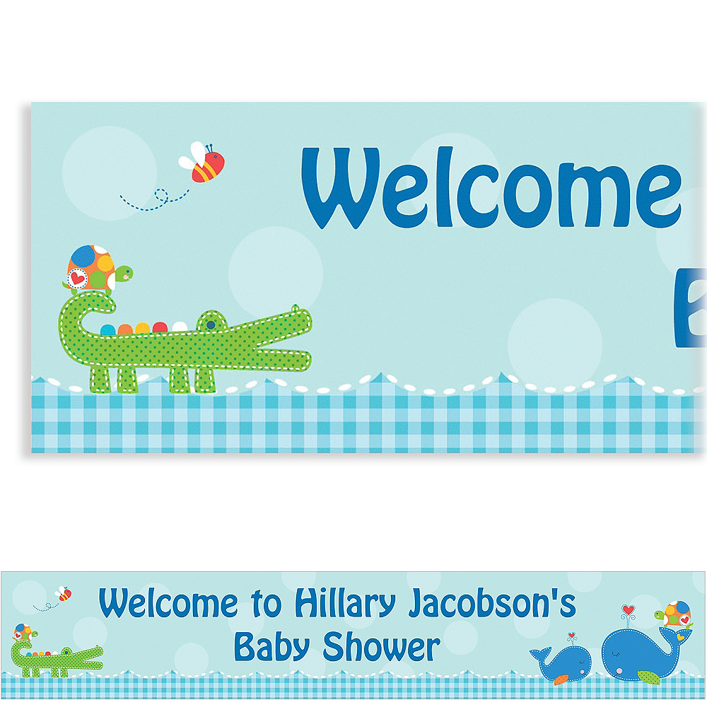 Custom Ahoy Baby Baby Shower Banner 6ft Image #1