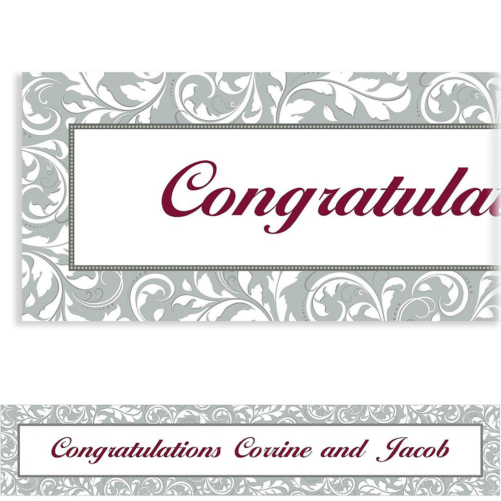 Custom Silver Wedding Banner 6ft Image #1
