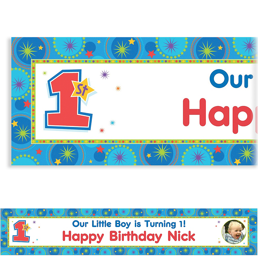 Custom One-Derful Birthday Boy Photo Banner 6ft Image #1