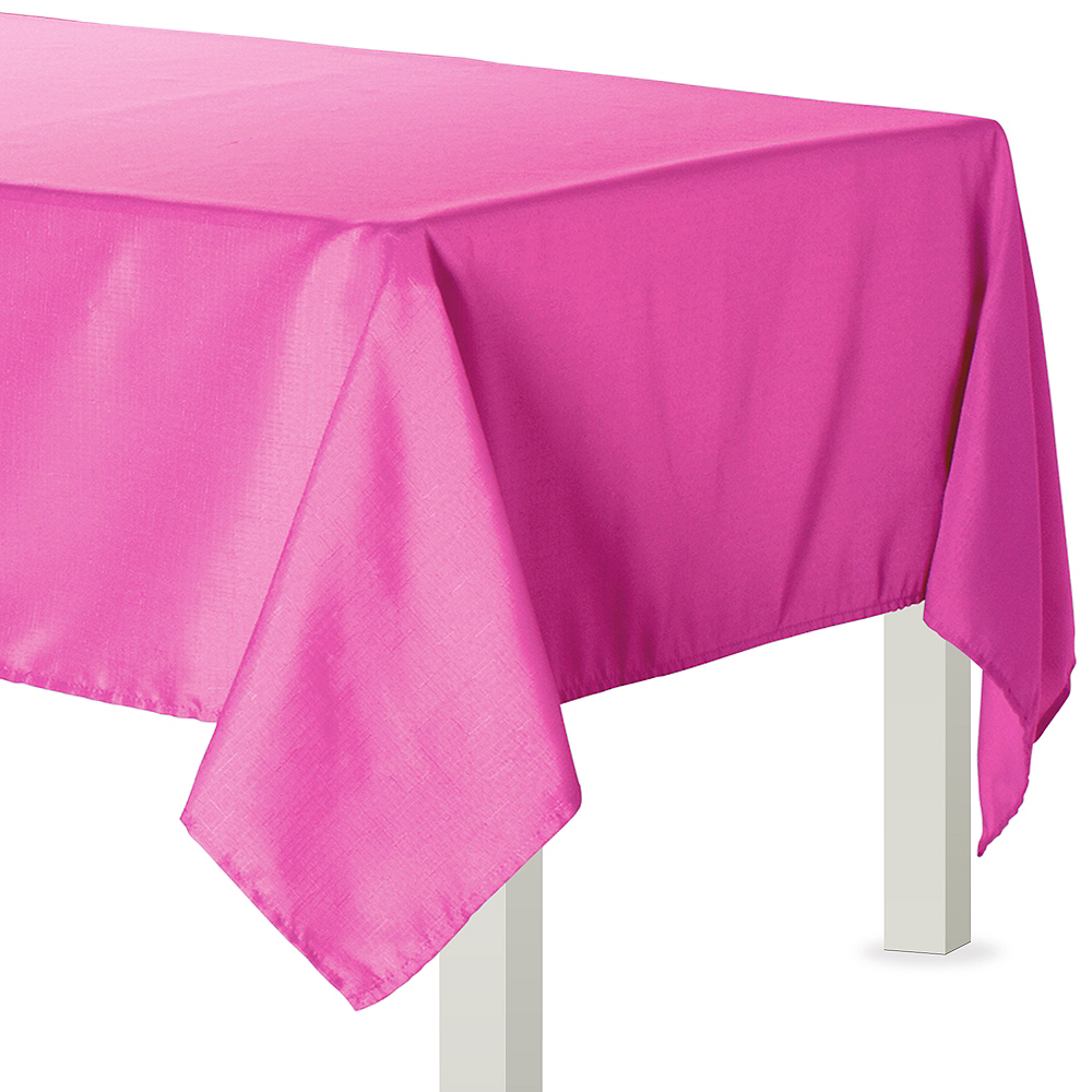 Bright Pink Fabric Tablecloth 60in x 84in | Party City