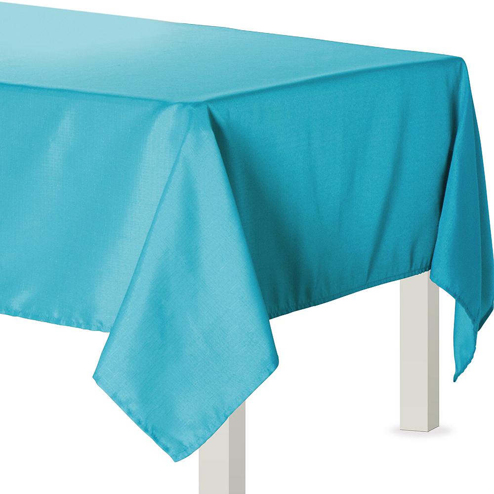 Caribbean Blue Fabric Tablecloth Image #1
