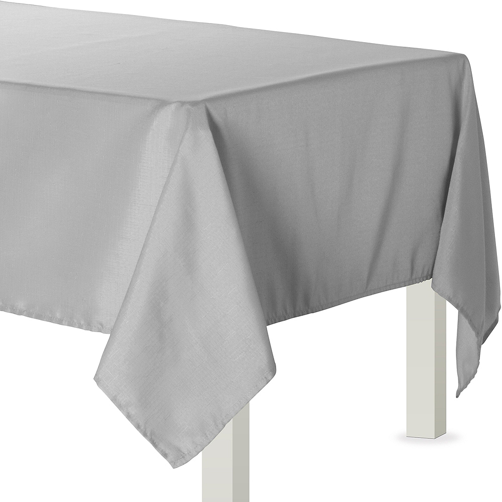 Silver Fabric Tablecloth Image #1