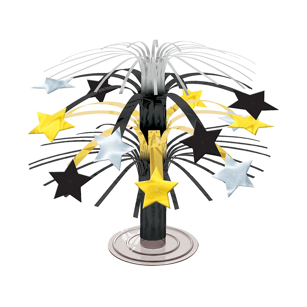 Black, Gold & Silver Stars Cascade Centerpiece Image #1