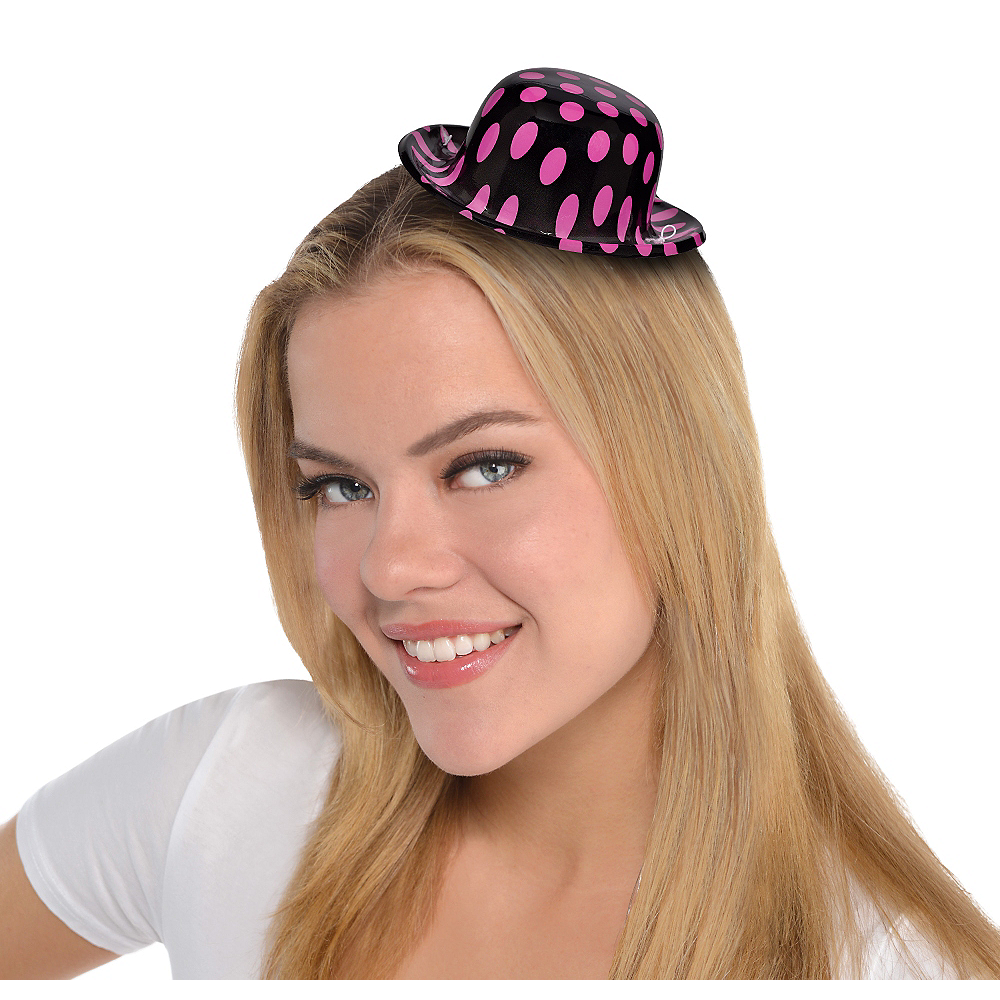 Nav Item for Mini Pink & Black Polka Dot Bowler Hat Image #1