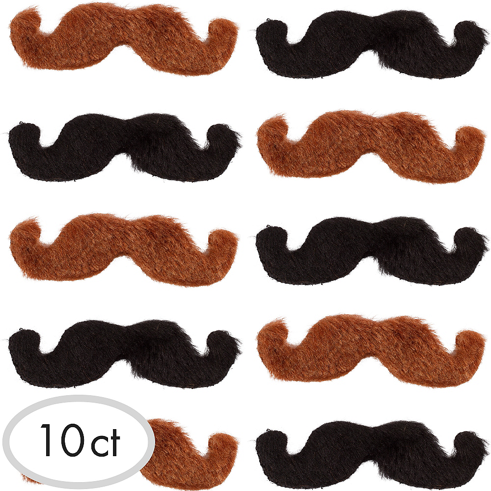 Black & Brown Western Moustaches 10ct Image #1