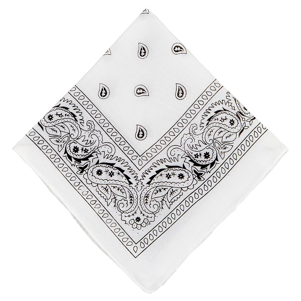 White Paisley Bandana, 20in x 20in Image #1