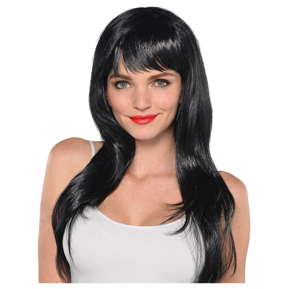 Nav Item for Glamorous Long Black Wig Image #1