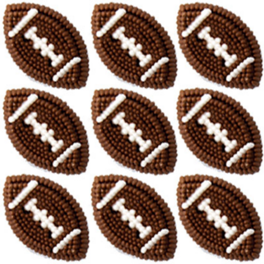 Wilton Football Icing Decorations 9ct Image #1