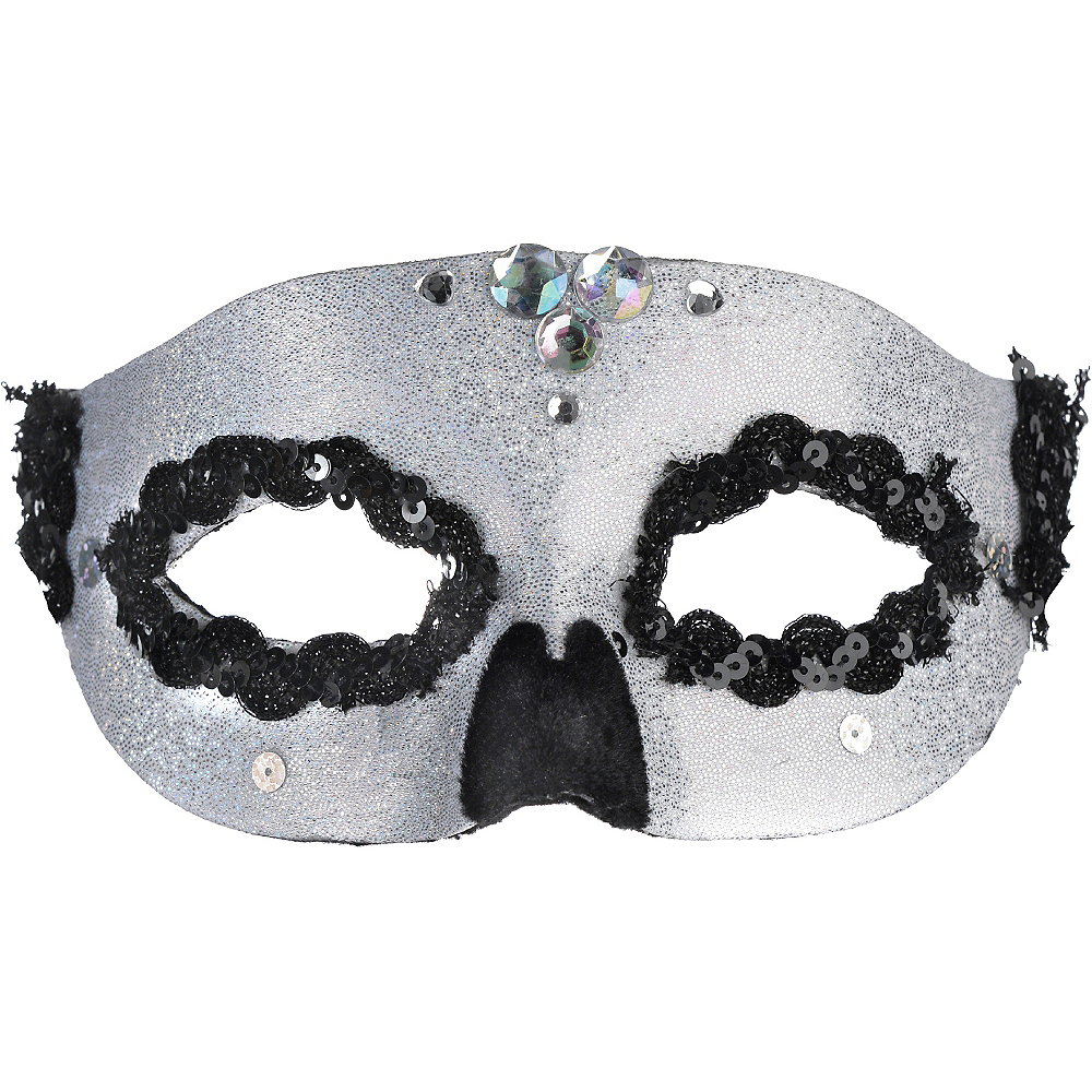 Glitter Silver Skull Masquerade Mask Image #1