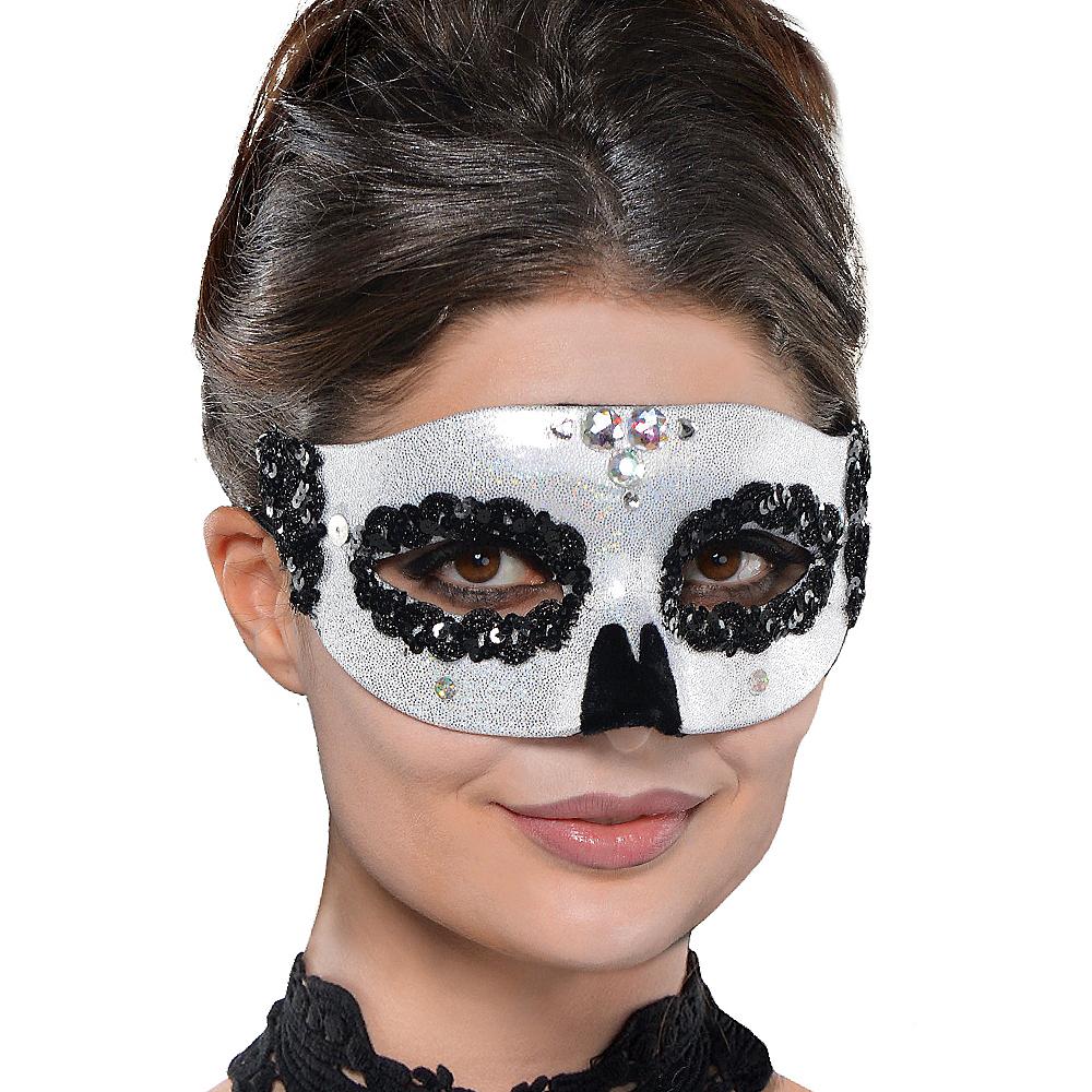 Glitter Silver Skull Masquerade Mask Image #2
