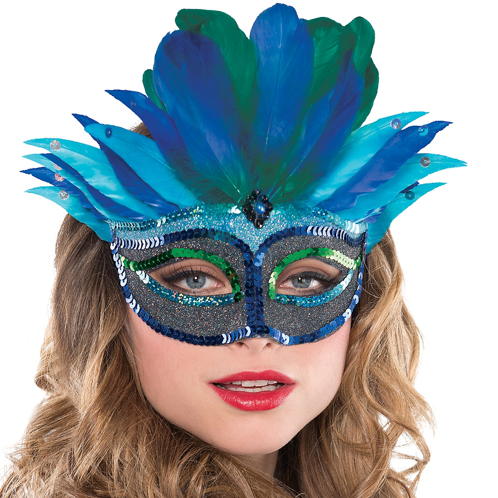 Blue Mystique Feather Masquerade Mask Image #2