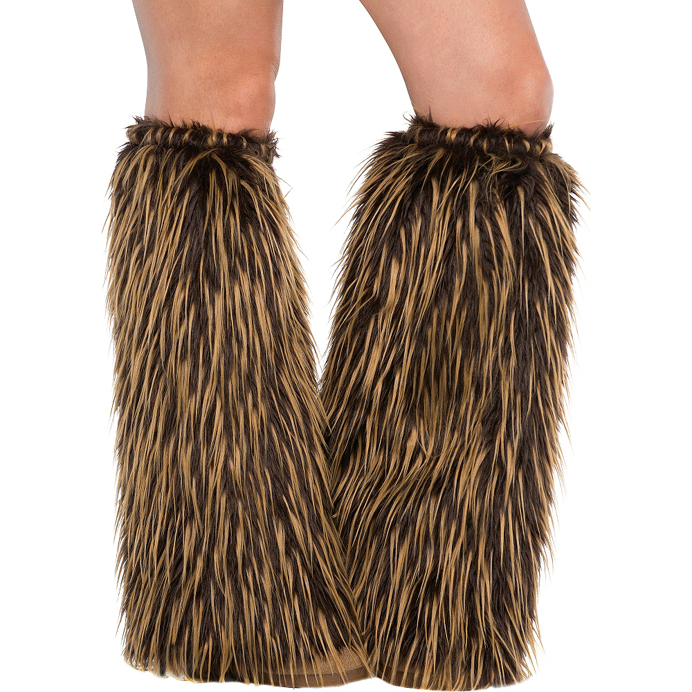 Adult Medieval Furry Leg Warmers Image #1
