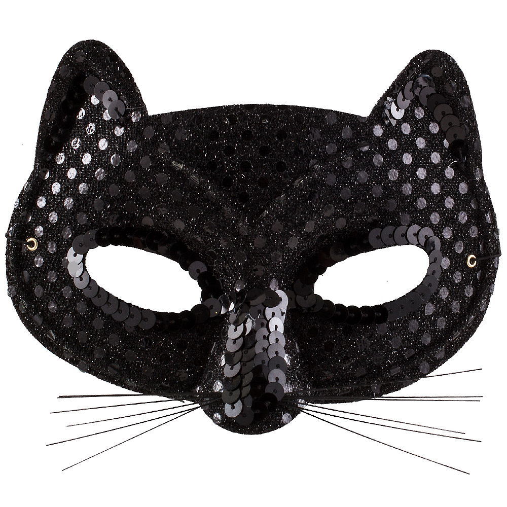 4b9fb1b55d6 Black Sequin Cat Mask 6 1 2in x 4in
