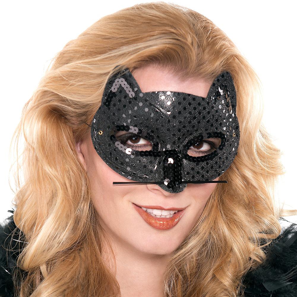 Black Sequin Cat Mask Image #2