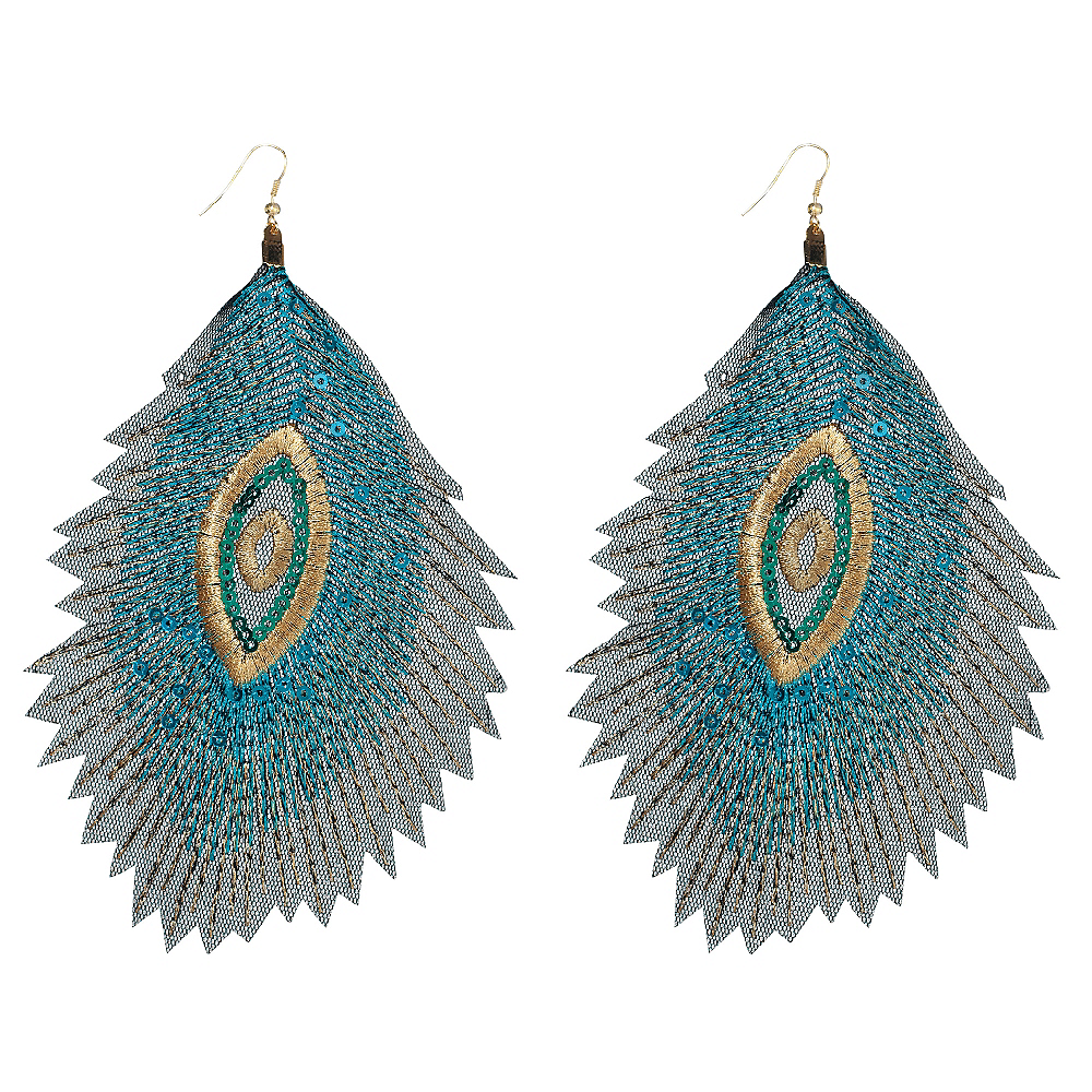 Embroidered Peacock Earrings Image #1