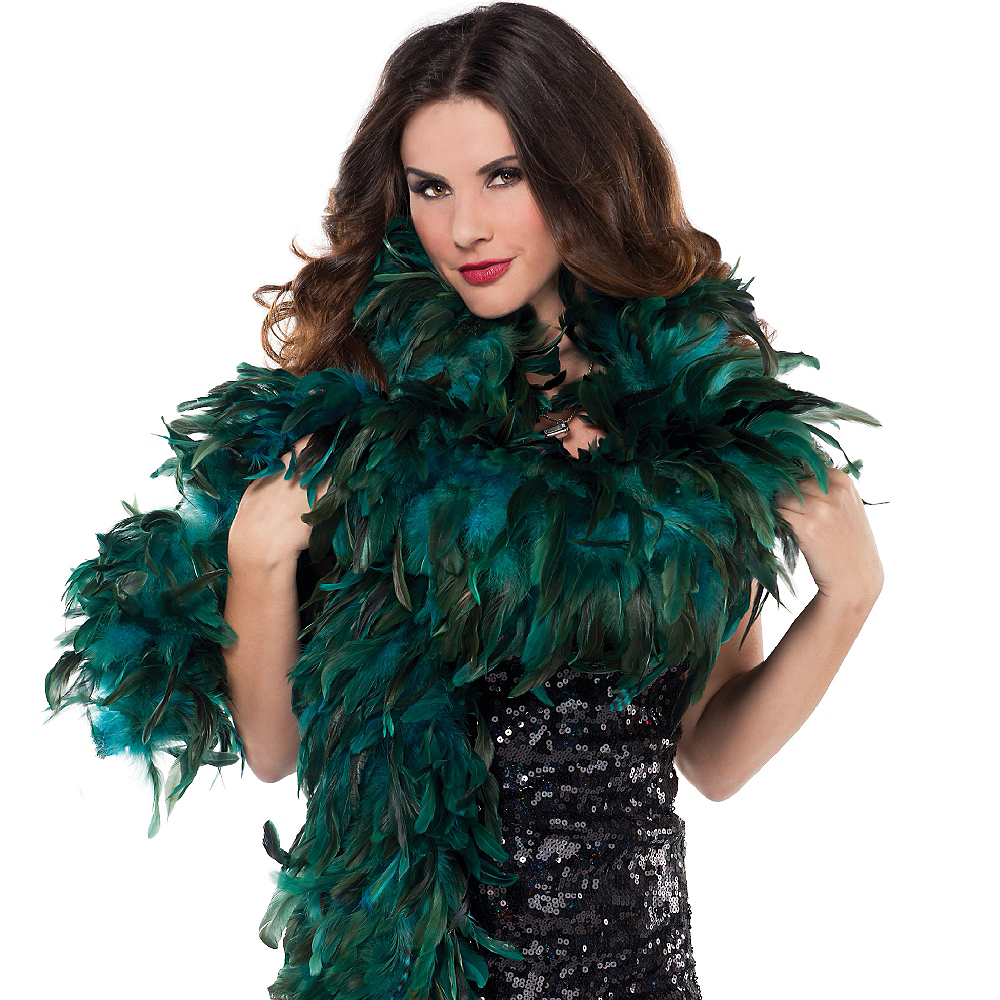 Turquoise Fantasy Feather Boa Deluxe 72in Image #2