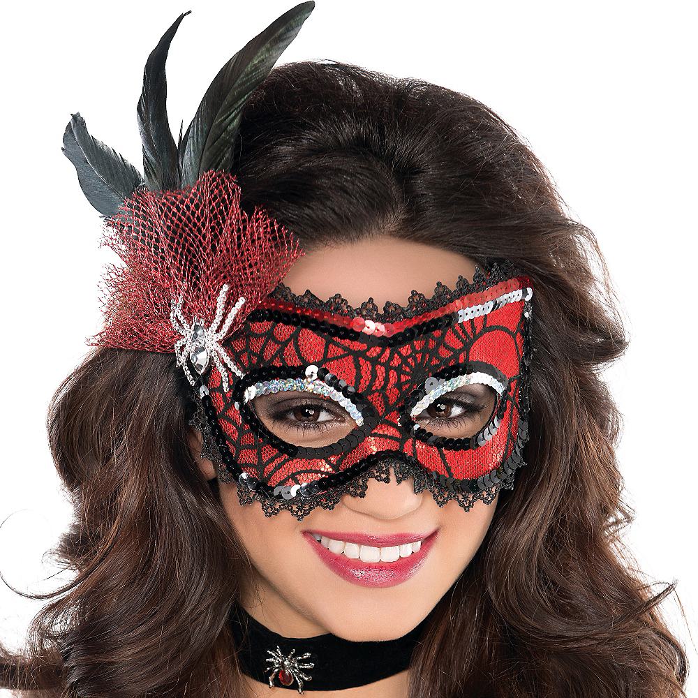 Nav Item for Spider Web Feather Masquerade Mask Image #2