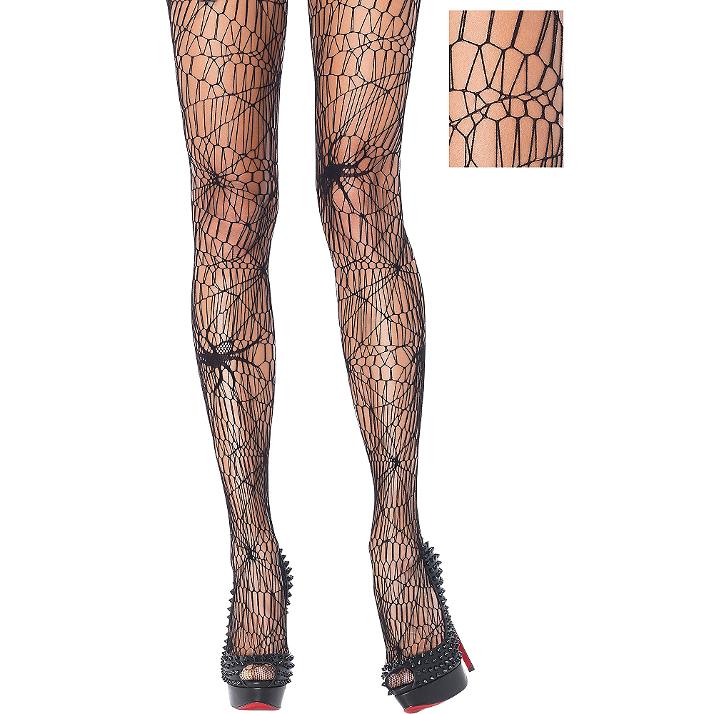 Adult Black Widow Spider Web Pantyhose Image #1