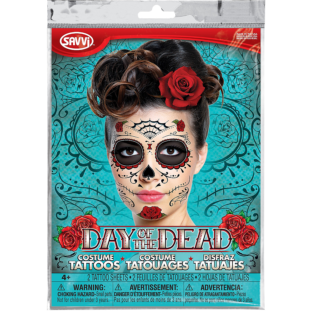 Sugar Skull Face Tattoos 2 Sheets Image #1