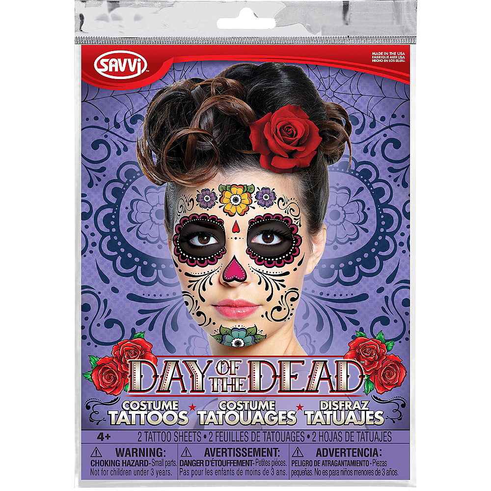 Sugar Skull Face Tattoos 2 Sheets Image #2