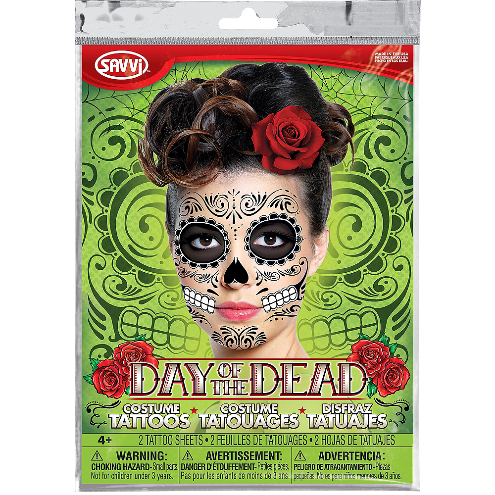 Sugar Skull Face Tattoos 2 Sheets Image #3
