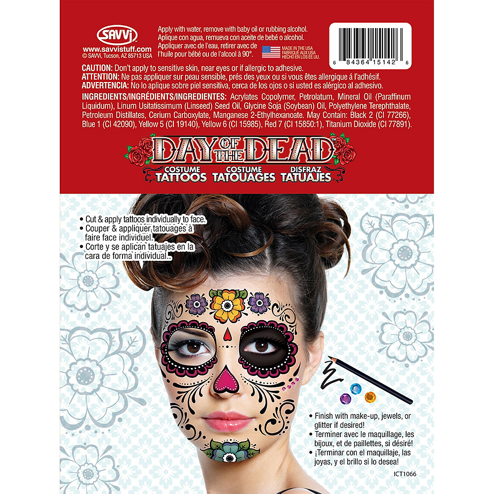 Sugar Skull Face Tattoos 2 Sheets Image #4