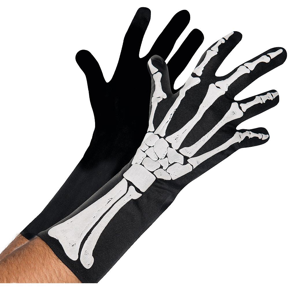 Adult Black & Bone Gloves - Skeleton Image #1