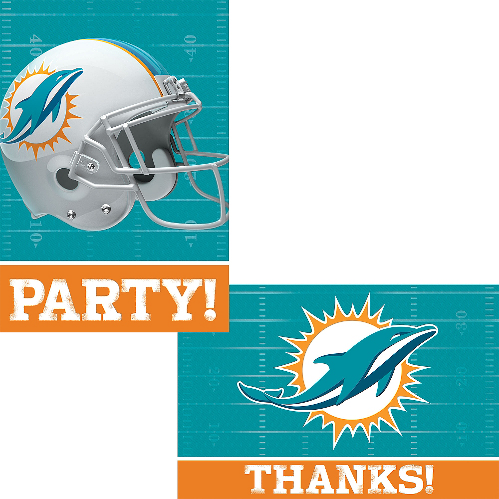 Miami Dolphins Invitations & Thank You Notes For 8 Image #1
