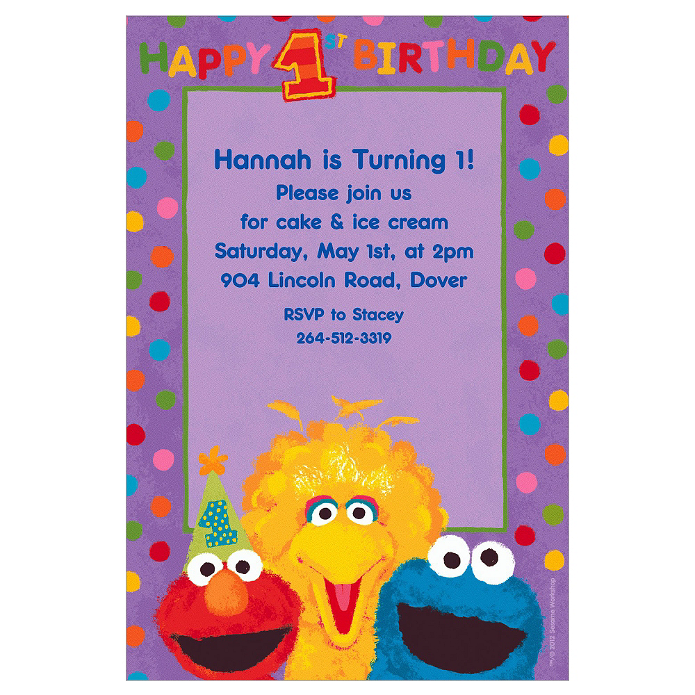 Custom Sesame 1st Birthday Invitations Image #1